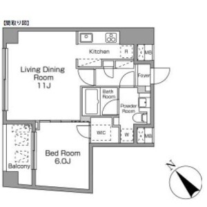 1LDK 맨션 in Ebisuminami - Shibuya-ku Floorplan