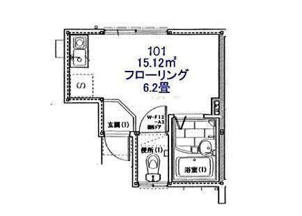1R Apartment to Rent in Kawasaki-shi Saiwai-ku Floorplan