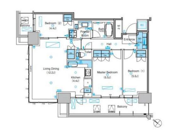 3LDK Apartment to Rent in Koto-ku Floorplan