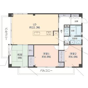 3LDK {building type} in Shimizu - Osaka-shi Asahi-ku Floorplan