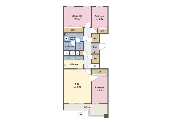 3LDK Apartment to Buy in Setagaya-ku Floorplan