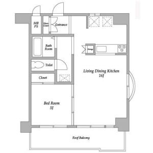 1LDK Apartment in Toranomon - Minato-ku Floorplan