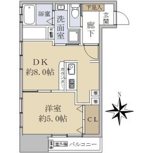 1DK {building type} in Hyakunincho - Shinjuku-ku Floorplan
