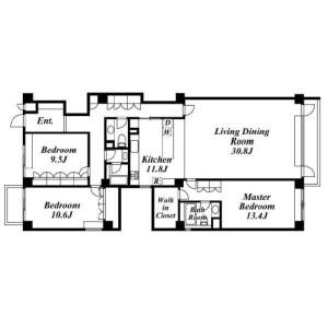 目黒區中目黒-3LDK公寓 房間格局
