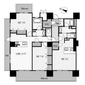 名古屋市中村区平池町-3LDK公寓 楼层布局