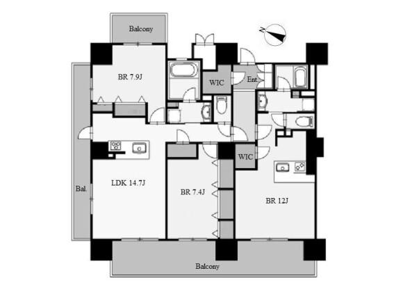 3LDK Apartment to Rent in Nagoya-shi Nakamura-ku Floorplan