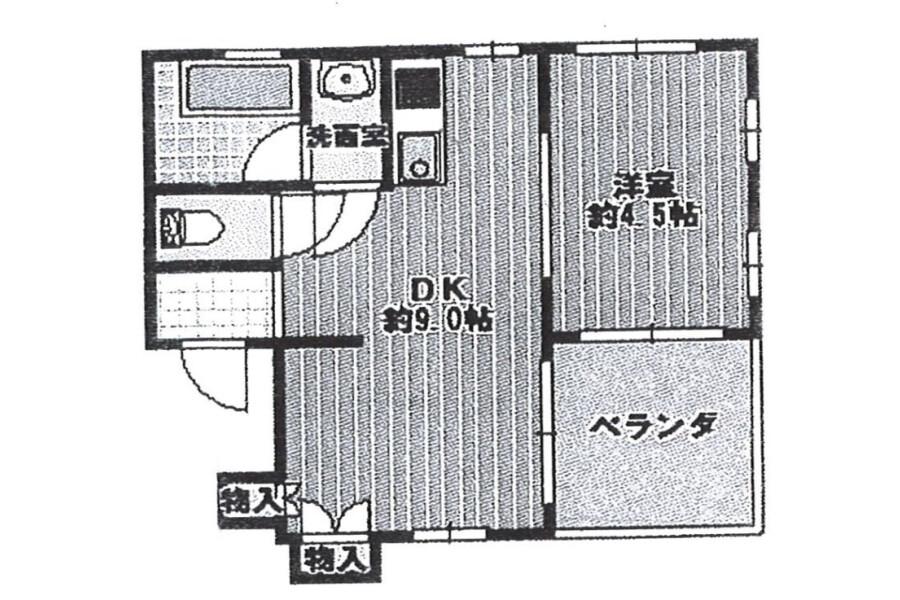 1LDK Apartment to Rent in Toyonaka-shi Floorplan