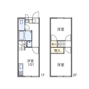 福岡市東区香椎駅東-2DK公寓 楼层布局