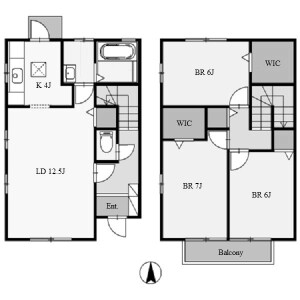 3LDK Terrace house in Iwasakidai - Nisshin-shi Floorplan
