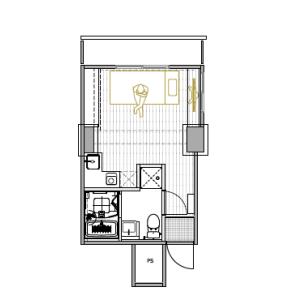港区芝浦(2〜4丁目)-1R公寓大厦 楼层布局