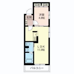 1LDK Apartment in Uehara - Shibuya-ku Floorplan