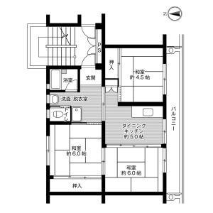 3DK Mansion in Shiranuhimachi kora - Uki-shi Floorplan