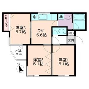 世田谷区 桜新町 3DK マンション 間取り