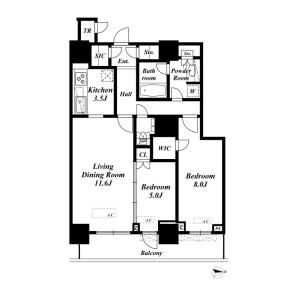 2LDK Apartment in Kachidoki - Chuo-ku Floorplan