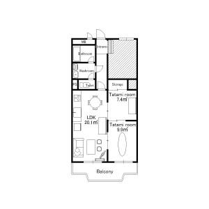 2LDK Mansion in Tsurukabuto - Kobe-shi Nada-ku Floorplan