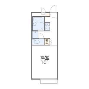 1K Apartment in Naka - Fukuoka-shi Hakata-ku Floorplan