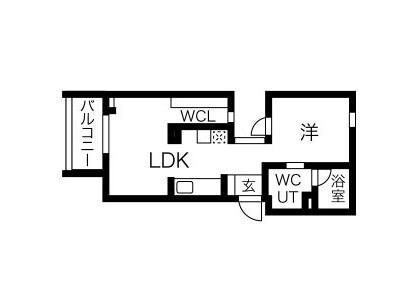 1LDK Apartment to Rent in Nagoya-shi Nishi-ku Floorplan