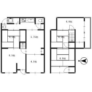 6K {building type} in Higashikujo nishiyamacho - Kyoto-shi Minami-ku Floorplan
