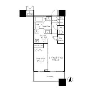1LDK Mansion in Higashigotanda - Shinagawa-ku Floorplan