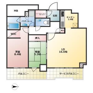 神戸市中央区 熊内町 2LDK {building type} 間取り