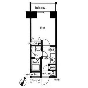 中央区日本橋人形町-1K公寓大厦 楼层布局