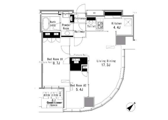 2LDK 맨션 to Rent in Shibuya-ku Floorplan