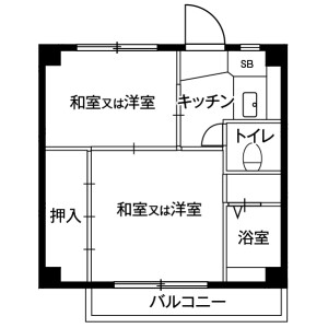 2K Mansion in Imafuku - Kawagoe-shi Floorplan