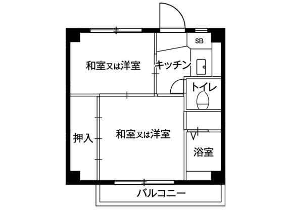 2K Apartment to Rent in Kawagoe-shi Floorplan