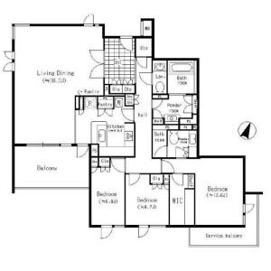 3LDK Apartment in Motoazabu - Minato-ku Floorplan