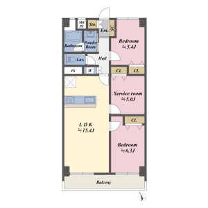 2LDK Apartment in Toyosu - Koto-ku Floorplan