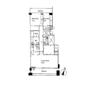 3LDK Apartment in Oharacho - Ashiya-shi Floorplan