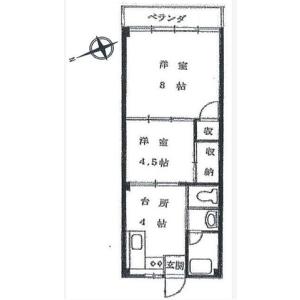 目黒區五本木-2DK公寓大廈 房間格局