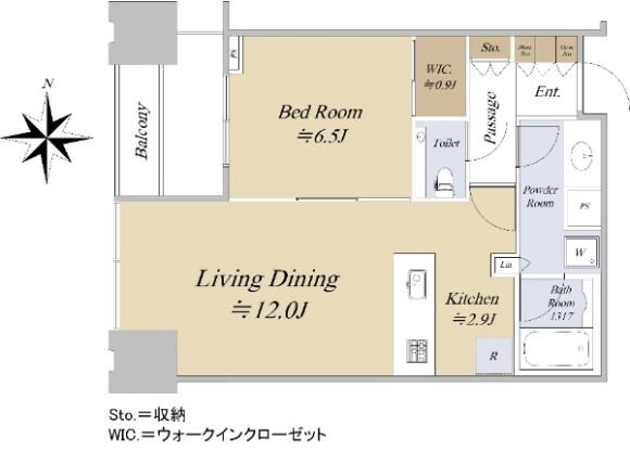 在江东区购买1LDK 公寓大厦的 楼层布局