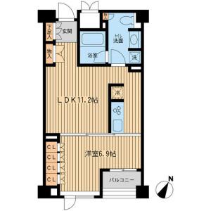 1LDK Mansion in Mishuku - Setagaya-ku Floorplan