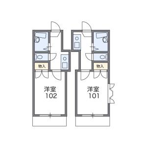福岡市博多区板付-1K公寓 楼层布局