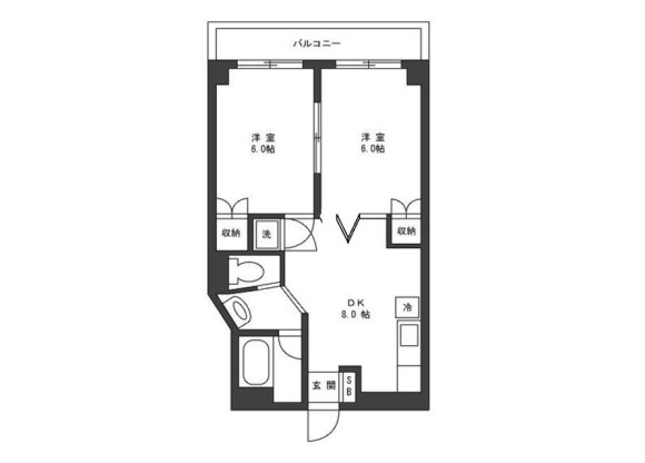 2DK Apartment to Rent in Taito-ku Floorplan