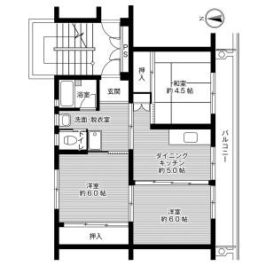 福岡市西区横浜(1〜2丁目)-3DK公寓大厦 楼层布局