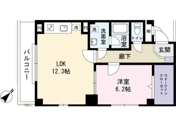 1LDK Apartment to Rent in Ichikawa-shi Floorplan