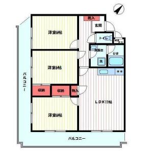 3LDK Mansion in Shioyaki - Ichikawa-shi Floorplan