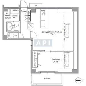 港區南麻布-1LDK公寓 房間格局