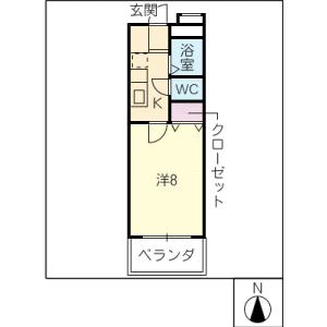 1K Mansion in Haruoka - Nagoya-shi Chikusa-ku Floorplan
