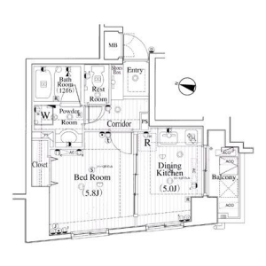 1DK Mansion in Hommachi - Shibuya-ku Floorplan