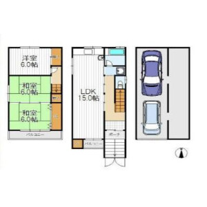 3LDK House in Tengachayahigashi - Osaka-shi Nishinari-ku Floorplan