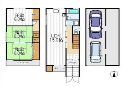 3LDK House to Buy in Osaka-shi Nishinari-ku Floorplan
