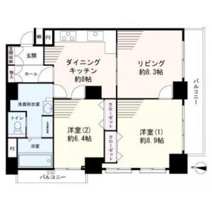 2LDK {building type} in Daimachi - Yokohama-shi Kanagawa-ku Floorplan