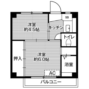 2K Mansion in Tamashima uwanari - Kurashiki-shi Floorplan