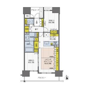 2LDK {building type} in Minamihorie - Osaka-shi Nishi-ku Floorplan