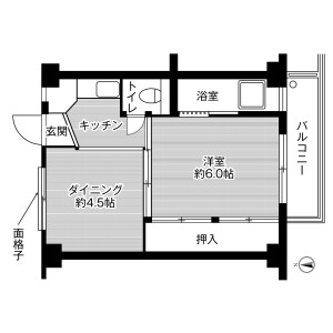 八尾市 青山町 2K マンション 間取り