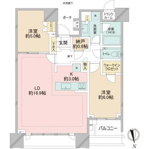 2LDK Apartment in Harumi - Chuo-ku Floorplan