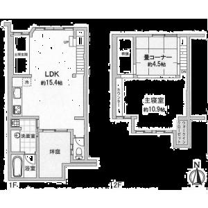 2LDK {building type} in Nakanocho(inokumadoritakeyachoagaru.inokumadorimarutamachisagaru.nishihorikawadorimarutamachisagaru) - Kyoto-shi Kamigyo-ku Floorplan